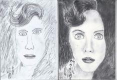 Portrék a jobb agyféltekés rajztanfolyam első és harmadik napján