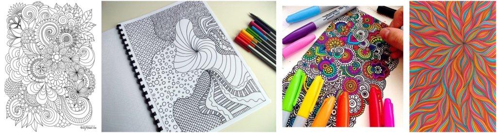 Egy pontból indulva, tetszőlegesen rajzoljuk a zentangle motívumokat