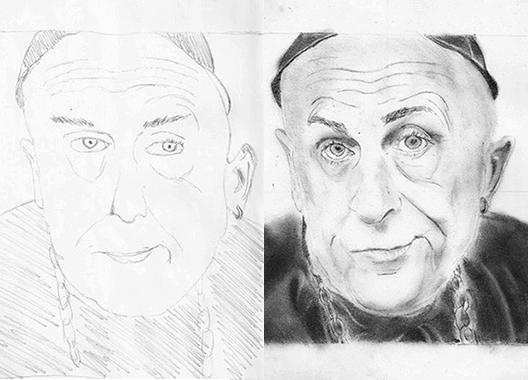portré a rajztanfolyamon